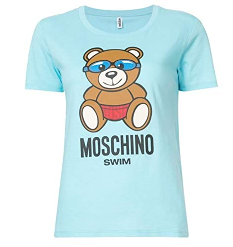 Moschino t-shirt girocollo donna swim teddy bear swimmer col. azzurro ae18mo17