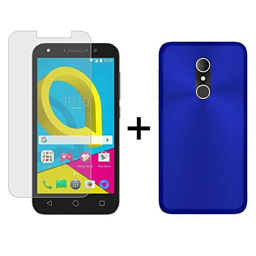 TBOC® Pack: Blau Gel TPU Hülle + Hartglas Schutzfolie für Alcatel U5 3G - U5 Plus (5.0 Zoll) - Ultradünn Flexibel Silikonhülle. Panzerglas Displayschutz in Kristallklar in Premium Qualität.