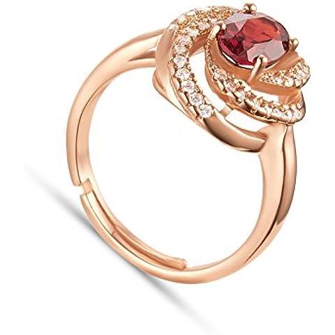 Anello 925 Argento Tormaline Naturale Rosso,Fiore Rosa, Oro Rosa Placcato,18mm(Regolabile)