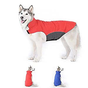 Bwiv Dog Coat Waterproof with Leash Hole Belly Protect Puppy Pet Vest Clothes Jacket Fleece Lined Velcro Lightweight Winter Outdoor 53