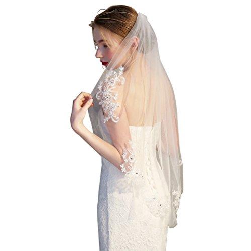 Lurrose 1 Tier kurze Brautschleier Spitze Blumen Applikationen Hochzeit Haarschmuck (Off-White)