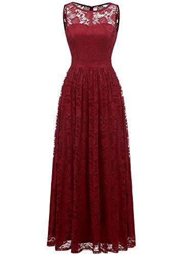 WedTrend 10007 Frauen Lace Lange Brautjungfer Kleid Party Kleid Cocktailkleid DarkRed XL