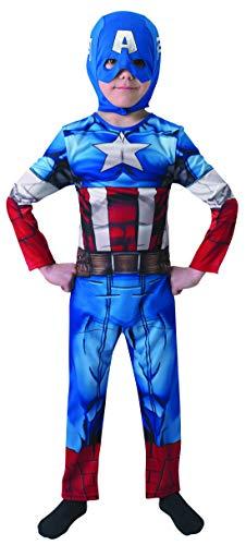 Fancy Ole - Jungen Boy Kinder Captain America Classic Kostüm aus Avengers Assemble mit Einteiler und Haube, perfekt für Karneval, Fasching und Fastnacht, 128-140, ()