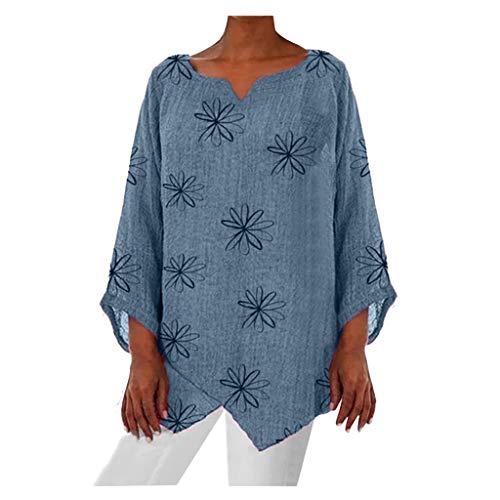 Deman outfit-Artistic9 Damen V-Ausschnitt Glockenärmel Shirts Star Print T-Shirt Plus Size unregelmäßiger Saum Bauer Tops Tuniken Loose Fit Damen Frühling Herbst Casual Active Bluse (Bauer Kostüm Übergröße)