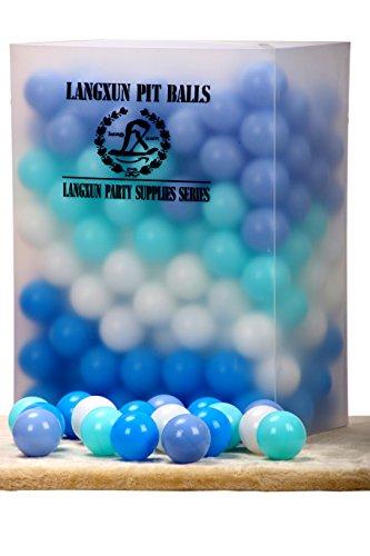Langxun Pack de 200 balles à base de boules à quatre couleurs - Bille en plastique anti-écrasement sans phtalate sans BPA | Cadeaux idéaux pour les enfants et les accessoires de cabine photo pour bébé et enfants