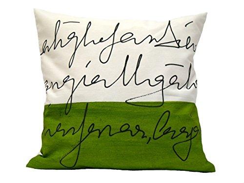 Dekorative Kissen, Brief, Grünes Kissen, 40 cm, BeccaTextile, grün und weiß Kissen.