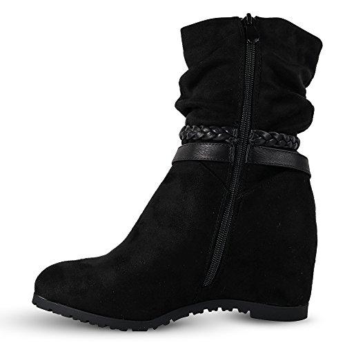 Damen Stiefeletten Keilabsatz Boots Stiefel leicht gefüttert Wedge ST752  Schwarz ...