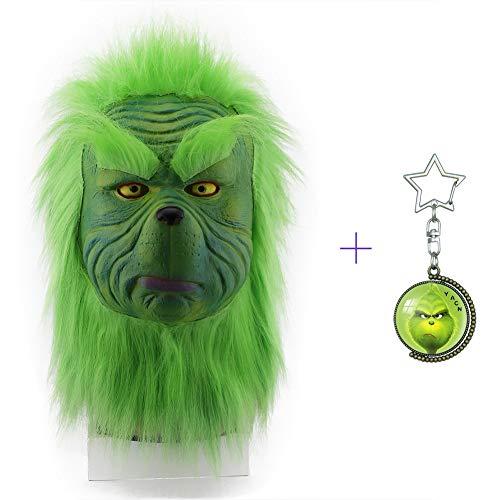 Yacn The Grinch Mask Kostüm Weihnachten Zubehör Grüne Vollmaske mit Fell