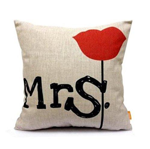 BIGBOBA. Letra Funda de Cojín Distinctive Patrón de Mr y Mrs...