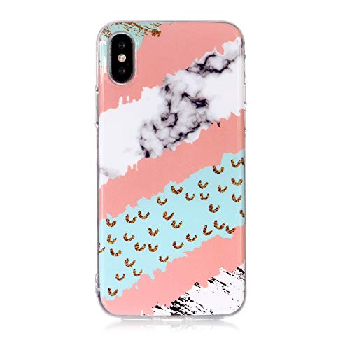 Cozy Hut Handyhülle iPhone X, iPhone X Silikon Cover TPU Weiche Schutzhülle Marmor Kreativ Muster Tasche Motiv Muster Etui Backcover Soft Case Hülle für iPhone X Smartphone - Hill Gras Marmor