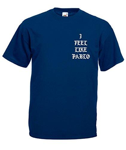 TRVPPY Herren T-Shirt I FEEL LIKE PABLO in vielen versch. Farben mit Rücken -und Brustaufdruck, Gr. S-5XL Weiß-Navyblau