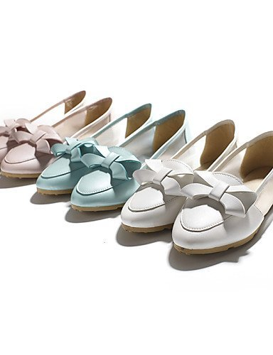 ShangYi gyht Scarpe Donna-Ballerine-Casual-Comoda / A punta-Piatto-Finta pelle-Blu / Rosa / Bianco White