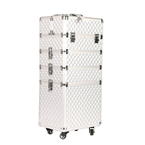 Kosmetikkoffer Aluminium Make-up Trolley Mit 4-Rollen Schminkkoffer Abnehmbar Tabletts Hartschale für Gepäck Robust und Stabil Professional Beautycase(4 in...