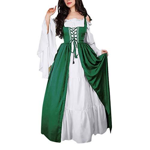 Damen Langarm Renaissance Mittelalter Kleid Viktorianischen Königin Kostüm (Erwachsene Königin Elsa Kostüme)