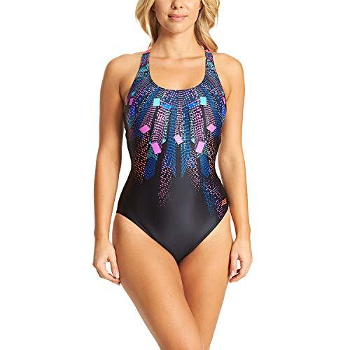 Zoggs Illusion Actionback Damen-Badeanzug aus Öko-Stoff, einteilig XL Multi/Black