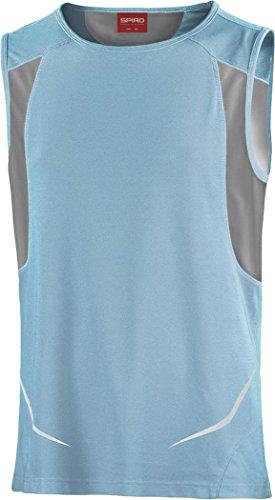 Spiro Herren Athletic Singlet Sport Jogging Fitness, Gymnastik, ärmelloses Tank Top Shirt - Aqua/Grey