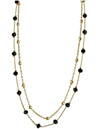 Spargz Gold Plated Party Wear 2 Stand Long Necklace Black & Gold Beads For Women AIN 010