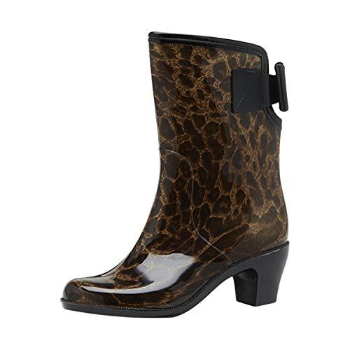 Frestepvie Women Chunky Heel Mid Calf Rain Boot Non-Slip Festival Wellies Wellington Rain Snow Boots Size UK 3 4 5 6 7
