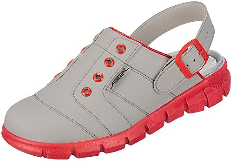 Abeba Dynamic - Zuecos de trabajo, color gris y rojo -