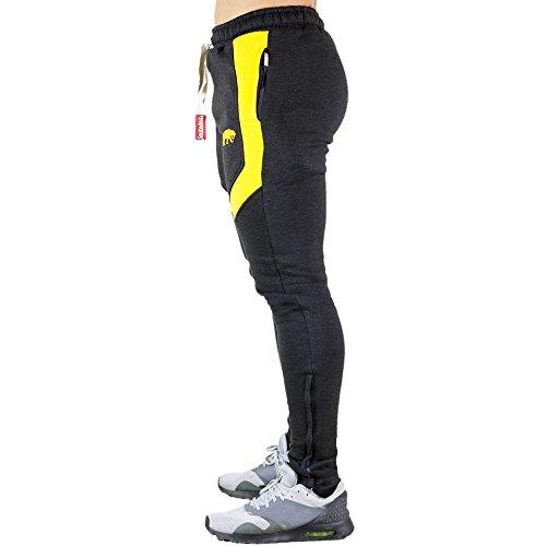 SMILODOX -  Pantaloni sportivi  - Uomo Anthrazit/Gelb