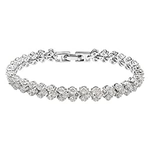 Silver Swarovski Elements Crystal Diamond Accent Queen Bracelet for women teenage girls, with a Gift Box, Ideal Gift for Birthdays / Christmas / Wedding--White, Model: X15152