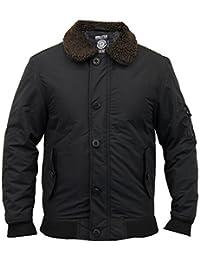 Mens Flying Jacket Soul Star Coat Sherpa Collar Padded Bomber Badge Winter New