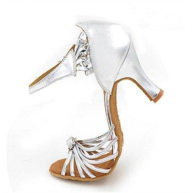Scarpe da ballo-Personalizzabile-Da donna-Balli latino-americani Jazz Salsa Scarpe da swing-Tacco su misura-Finta pelle-Argento Silver