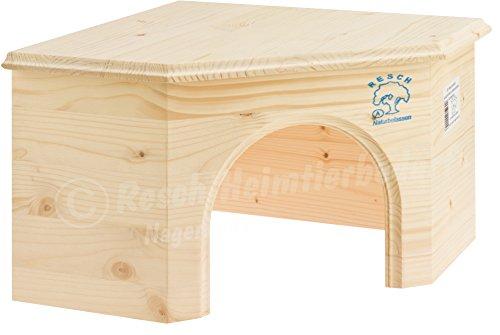 Resch n° 15 casetta ad angolo per conigli / legno massiccio d'abete rosso non trattato / dotato di ingresso particolarmente grande e accogliente area riposo e relax