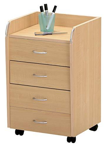H24living Rollcontainer Bürocontainer Rollschrank Schubladenkommode Mobiler Büroschrank mit Schubladen und Rollen (4 Schubladen, Ahorn) - Ahorn Roll