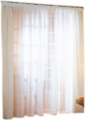 Linder 0390 /10/344 Voilage Grande Largeur Polyester Lin Blanc Galon Fronceur 300 x 240 cm