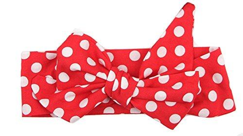 Kanggest 1Stück Baby Mädchen Stirnbänder verknotete Baby Stirnbander Punktmuster Knot Madchen Knot Stirnband Kleinkind Stirnband (rot) (Süße Baby-dusche-ideen)