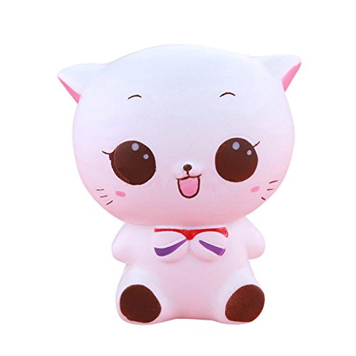 Squishy Spielzeug Kitty Katze Puppe Langsam Steigende Weiche Prise Stress Reliever Kind Spielzeug Charm Spielzeug (Weiß) (Kitty-peeling)