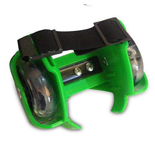 Gaorui Enfant Talon Rouleau Leger Roue Reglable Chaussures de Skateboard Sangles Vert