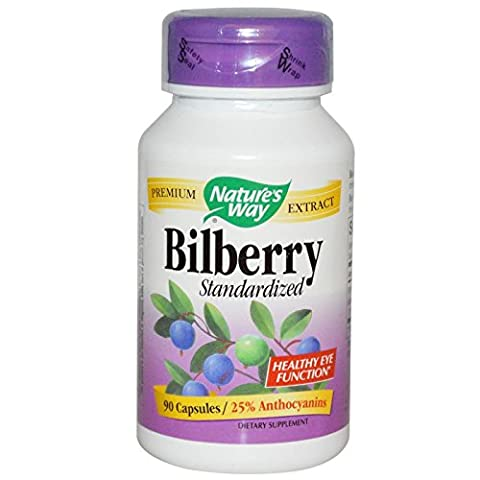 Pack of 4 x Nature's Way Bilberry Standardized - 80 mg - 90 Capsules