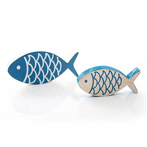 2 Stück bemalte blaue Holz-FISCHE PAAR 13 x 6 cm + 10 x 5 cm, jeweils 1,5 cm stark zum Hinstellen Deko-Fisch Zierfisch ... als hübsche maritime Dekoration fürs Badezimmer, als Tischdeko zur Taufe.