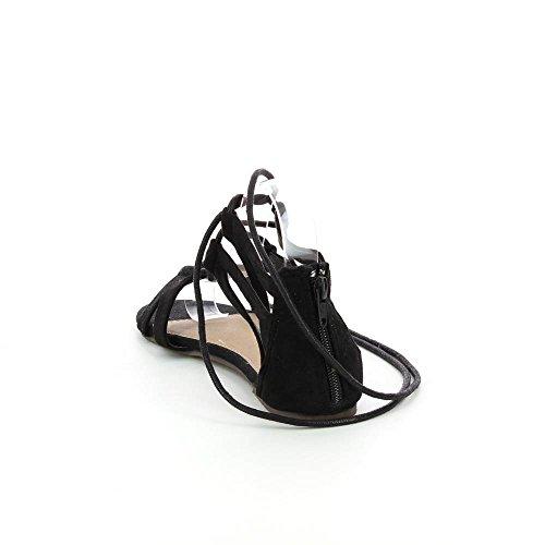 Go Tendance - Sandali piatti stile sandali da gladiatore - Donna Nero