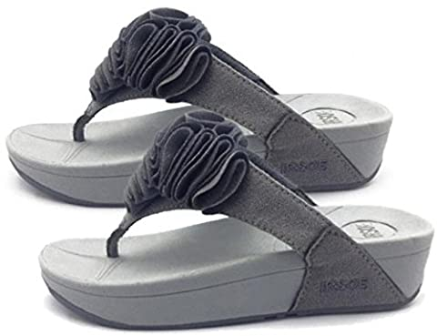 Womens GREY Toning FLIP FLOPS Ladies Low High Wedge Heel Sandals (8)