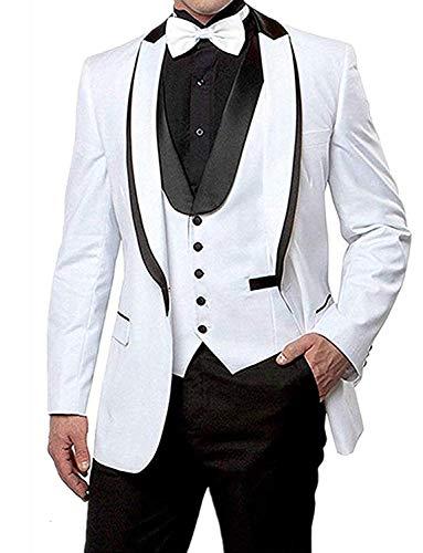 Lilis Herren Anzug Wei? Smoking Hochzeit Party Sakko+Anzughose+Weste - Peak Revers Weste