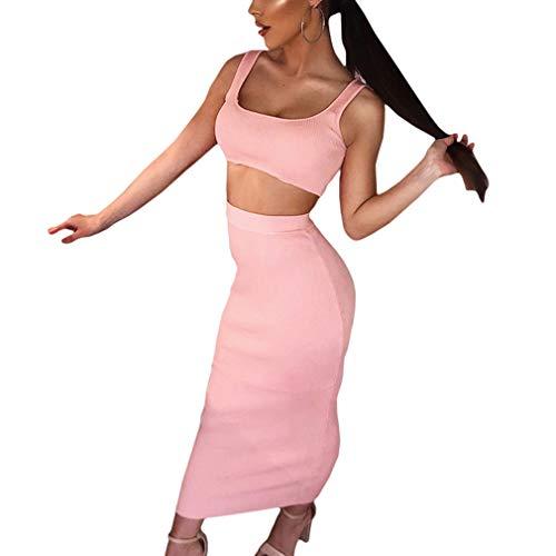 Hibote Frauen Zweiteiler Rock Set Crop Top Tops Sexy Strick Festival Party Trainingsanzug Kleidung Streetwear Elegant
