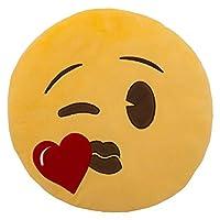وسادة على شكل قلب من ايموجي - أصفر، 33 سم