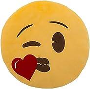 وسادة قلب من ايموجي - أصفر، 33 سم