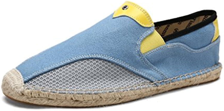 LIUXUEPING Zapatos Perezosos Calzado De Hombre De Lino Temporada De Verano Hombres Zapatos Casuales Estilo Chino  -
