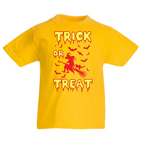 Kinder T-Shirt Trick or Treat - Halloween Witch - Party outfites - Scary costume (3-4 years Gelb Mehrfarben) (Wwe Kostüme Für Mädchen)