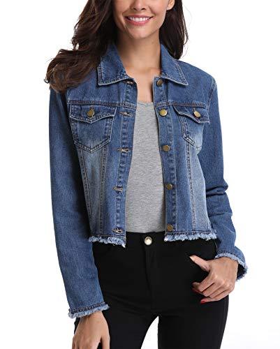 Flap-tasche Indigo Jeans (MISS MOLY Blaue Denim Jacken für Damen Jean Mäntel geknöpft Buttoned Down Klassische Western Taschen Casual Lange Ärmel Plain Outwear - L)