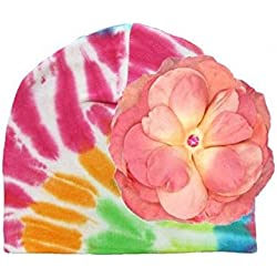 Rainbow Tie Dye Hat with Candy Pink Large Rose, Size: 4-6y