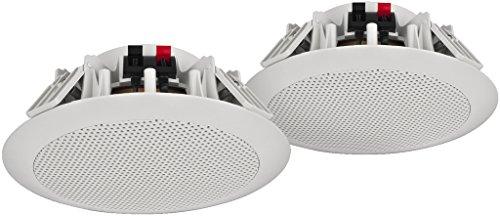 MONACOR SPE-254/WS wetterfestes ELA Deckenlautsprecher-Paar mit 2-Wege System und Kalottenhochtönern, Deckeneinbau-Lautsprecher temperaturfest bei bis zu 100 Grad Celsius, in Weiß