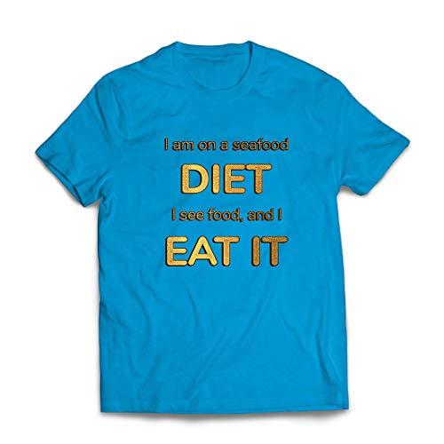 lepni.me Männer T-Shirt Ich Bin auf Einer Meeresfrüchte-Diät, Lustige Ernährungsliebhaberin (XX-Large Blau Mehrfarben)