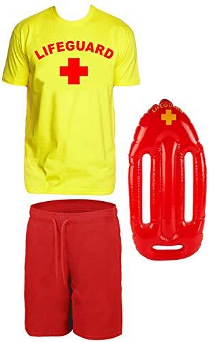 Lifeguard Kostüm Rettungsschwimmer 3 teilig Set T-Shirt Gelb + Badehose + schwimmboje Gr.S (Lifeguard Kostüm)