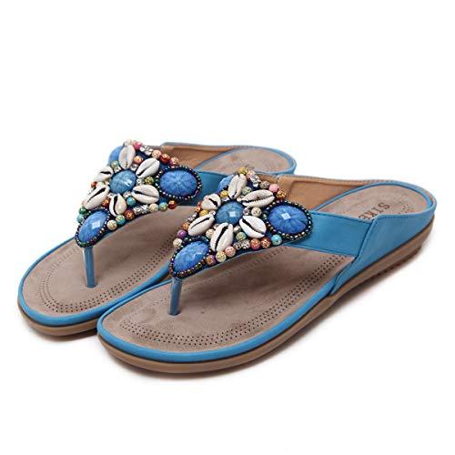 Sandali Piatti da Donna Estate Scarpe da Spiaggia Boemia Ragazze Flip Flop,Blue,EU38=CN39
