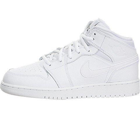 Jordan Schuhe 5y (Nike Kinder und Jugendliche Air Jordan 1 Mid BG Basketballschuhe, Weiß (White/Black/White), 37.5 EU)